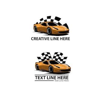 Schnelles auto und flaggenillustration Premium Vektoren