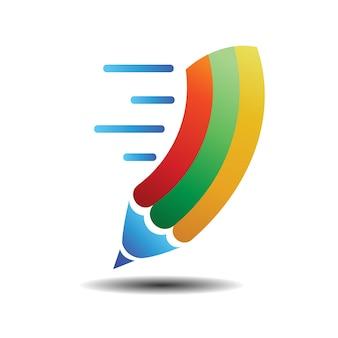 Schnelles bleistift-logo-schablonen-illustrations-design