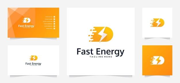 Schnelles energie-logo und visitenkarte