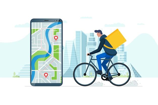 Schnelles konzept für den bestellservice für fahrräder. smartphone mit geotag-gps-standort-pin auf der stadtstraße und ökologischer express-lebensmittelversandkurier mit rucksack. online-anwendung vektor-eps