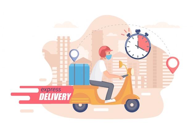 Schnelles, kostenloses und gesundes scooter-lieferkonzept. lebensmittel- und anderer versandservice für websites in quarantäne. illustration der schnellen und expresslieferung.