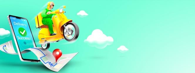 Schnelles lieferpaket per roller auf dem handy. paket im e-commerce per app bestellen. sendungskurier per kartenanwendung. dreidimensionales konzept. vektorillustration