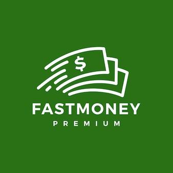 Schnelles logo für schnelles geldpapier