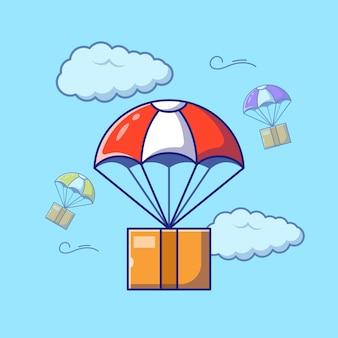 Schnelles luftlogistik-lieferservice-paket mit fallschirm-flachem cartoon-illustration isoliert