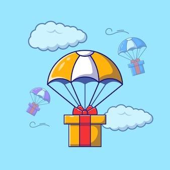 Schnelles luftlogistik-lieferservicepaket mit fallschirm