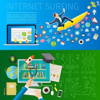 Schnelles mobiles surfen im internet. geschäftsmann auf surfbrett. flaches design, vektorillustration