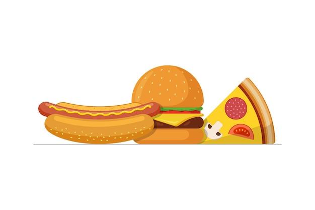 Schnelles streetfood-mittagessen-mittagessen-set pizzascheibe mit leckerem burger und hot dog flach isoliert