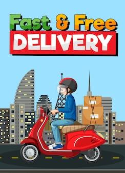 Schnelles und kostenloses lieferlogo mit fahrradmann oder kurier in der stadt