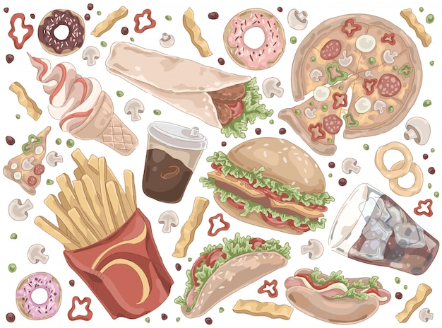 Schnellimbiss-set für straßenmahlzeiten