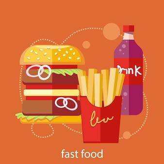 Schnellimbissikonen des pommes-friteshamburger-sodagetränks im flachen design auf stilvollem fahnenhintergrund
