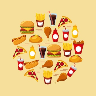 Schnellimbissset des ungesunden restaurants des ikonenmenüs