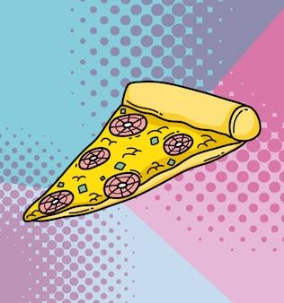 Schnellimbissvektorillustrations-grafikdesign der pop-arten-pizza