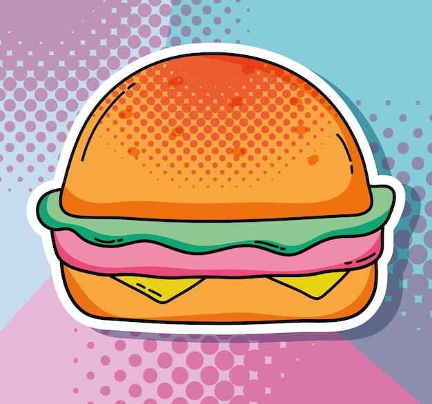 Schnellimbissvektorillustrations-grafikdesign des pop-arten-hamburgers