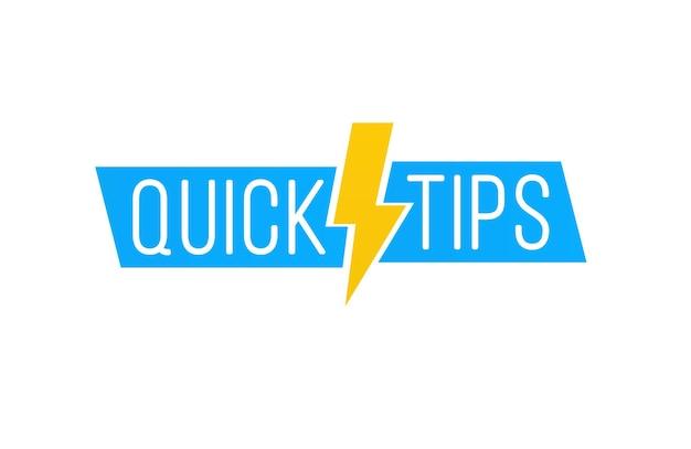 Schnelltipps beschriftungen set hilfreiche tricks logos embleme banner nützliche ideenlösung