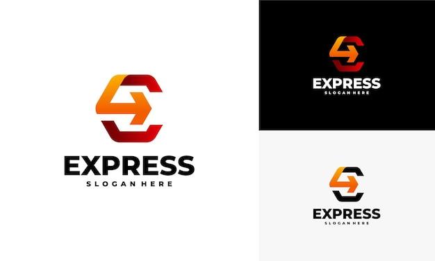 Schnellvorlauf express-logo-designs, modern e anfangsbuchstabe, express-logo-vorlage