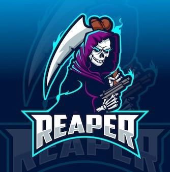 Schnitter maskottchen esport-logo