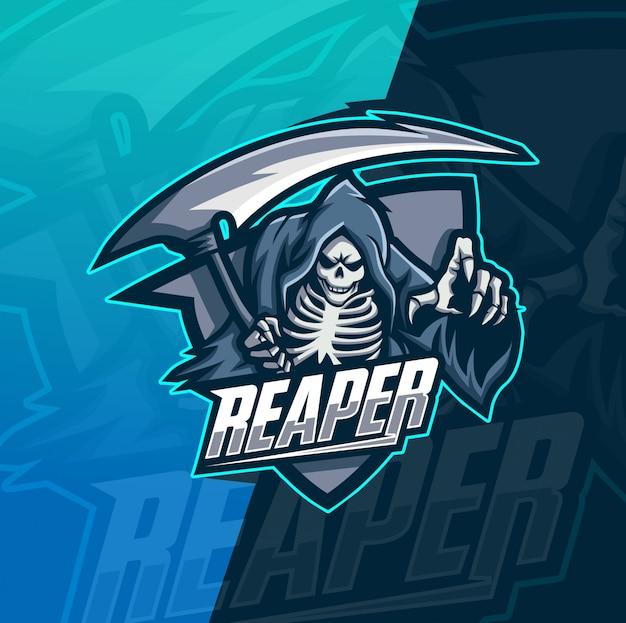 Schnitter schädel maskottchen esport logo vorlage