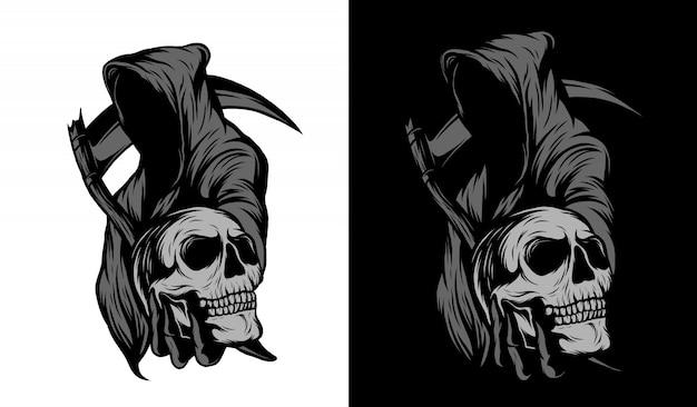 Schnitter schwarz-weiß-illustration