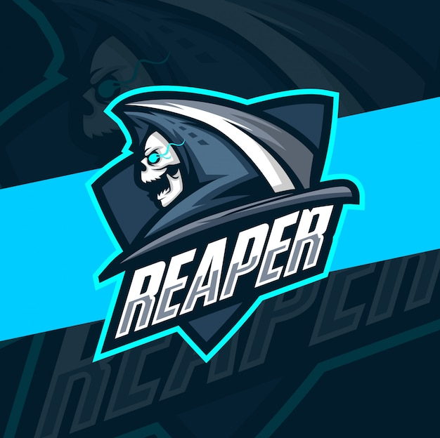 Schnitterschädel maskottchen esport logo design