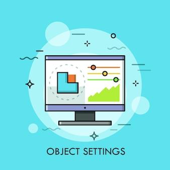 Schnittstelle des grafikeditorprogramms mit grafik und schiebereglern, die auf dem computerbildschirm angezeigt werden.