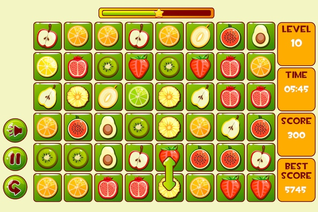 Schnittstelle fruit match 3 spiele. verschiedene früchte, symbole für spielelemente und schaltflächen