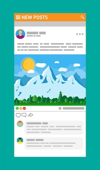 Schnittstelle für soziale netzwerke. nachrichtenbeitrag rahmt seiten auf mobilgeräten ein. benutzer kommentieren das foto. modell für soziale ressourcen.