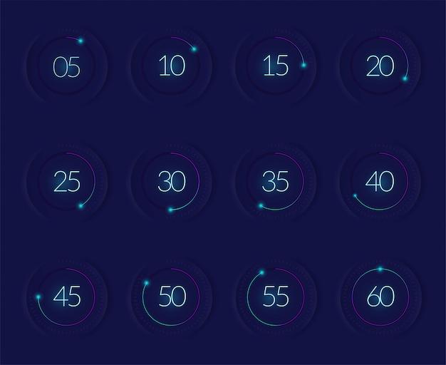 Schnittstellen-countdown mit modernen technologie-symbolen realistisch isoliert eingestellt