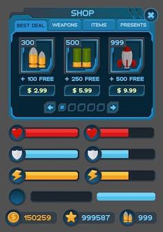 Schnittstellentasten für weltraumspiele oder apps