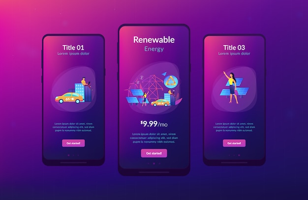 Schnittstellenvorlage für die app für erneuerbare energien.