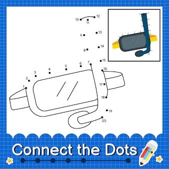 Schnorchelkinder verbinden das punktarbeitsblatt für kinder, die die nummern 1 bis 20 zählen