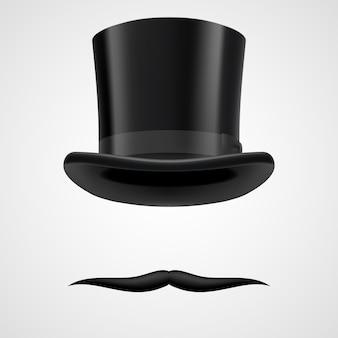 Schnurrbärte und ofenrohrhut viktorianischer gentleman