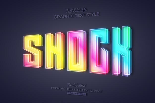 Schock bunter farbverlauf 3d bearbeitbarer texteffekt-schriftstil