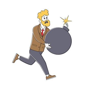 Schockierter geschäftsmann-charakter, der riesige bombe mit brennender zündschnur in den händen hält