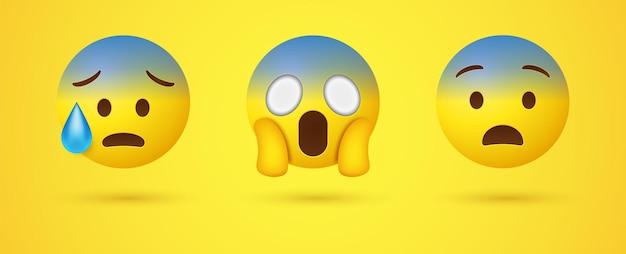 Schockiertes schreiendes emoji mit zwei händen, die das gesicht oder das traurige ängstliche 3d-emoticon mit schweiß halten