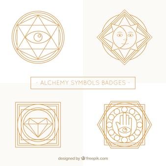 Schöne abzeichen der alchemie symbole