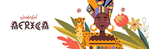 Schöne afrikanische frau in buntem traditionellem turban und gepard-vektorillustration
