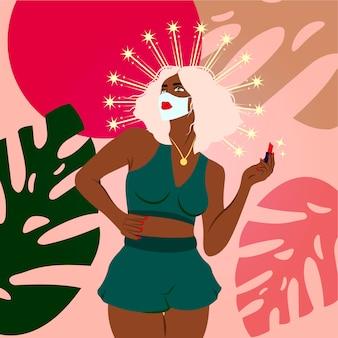 Schöne afrikanische frau malte lippen make-up mit rotem lippenstift auf einer medizinischen maske. quarantäne diva trendige illustration. beenden sie das coronavirus-konzept.