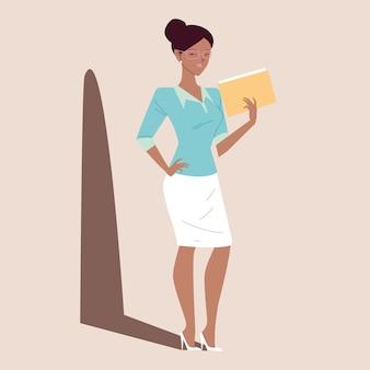 Schöne afro-geschäftsfrau, geschäftsfrau mit papieren in der hand