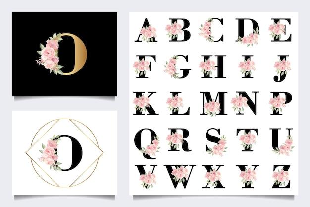 Schöne alphabet-sammlung mit blattaquarelldekoration
