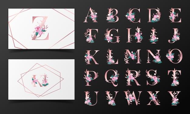 Schöne alphabet-sammlung verziert mit blumenaquarellstil