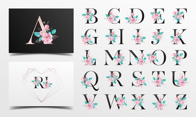 Schöne alphabetsammlung mit rosafarbener aquarelldekoration