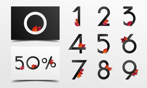 Schöne alphabetzahl verziert mit roten blättern