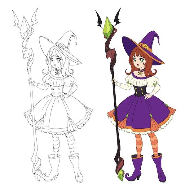 Schöne anime-hexe, die großen stab hält. rotes haar, lila kleid und großer hut.