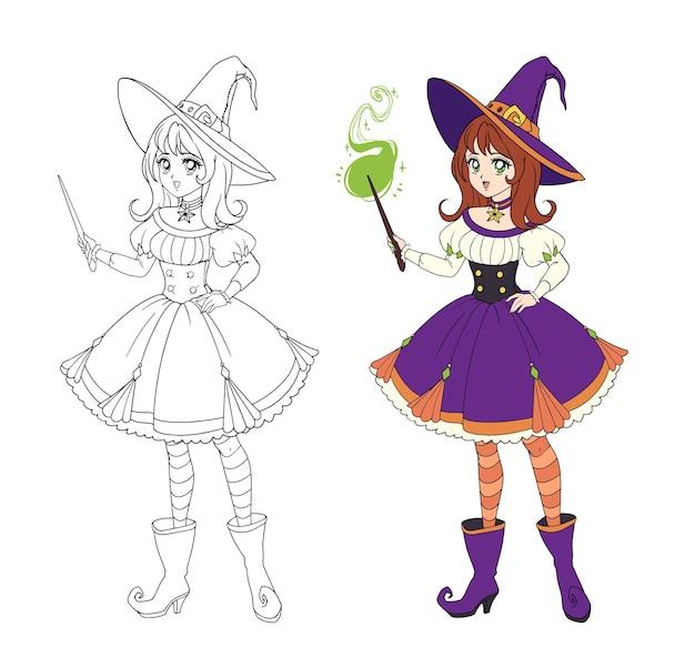 Schöne anime-hexe, die zauberstab hält. rotes haar, lila kleid und großer hut.