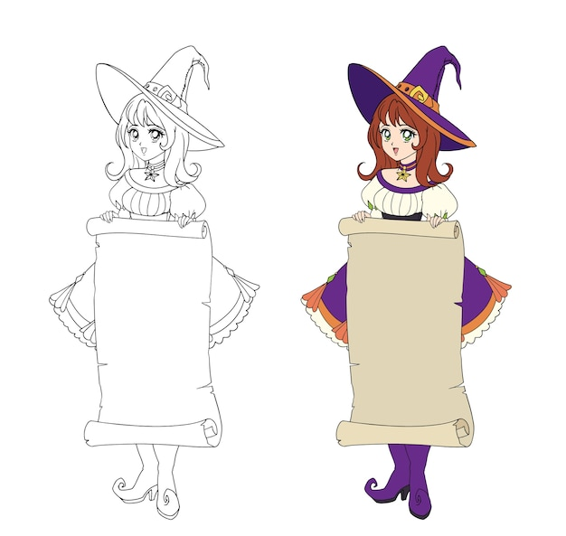 Schöne animehexe, die pergamentfahne hält. rotes haar, lila kleid und großer hut. hand gezeichnete illustration für malbuch. auf weiß isoliert