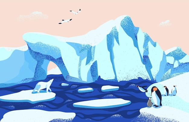Schöne antarktische landschaft