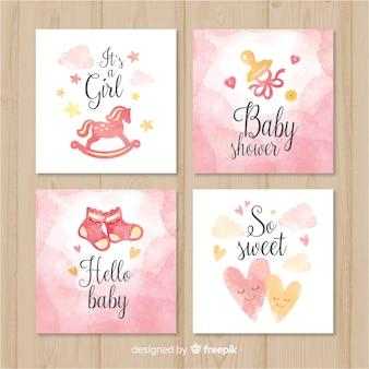 Schöne aquarell-baby-dusche-karten-sammlung