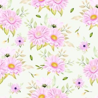 Schöne aquarell chrysantheme nahtlose muster