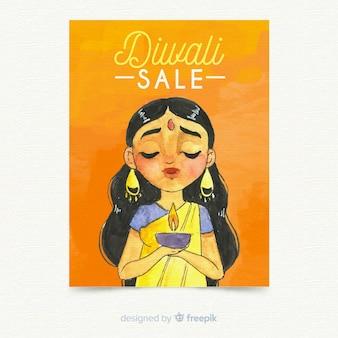 Schöne aquarell diwali verkauf flyer vorlage