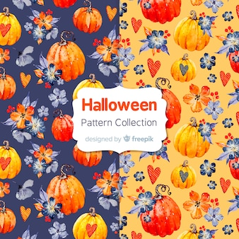 Schöne aquarell halloween musterkollektion